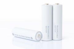 Aa-batterijen over wit Stock Afbeelding