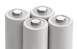 AA battery accumulators. Four AA size accumulators on white Royalty Free Stock Photography