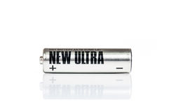 AA Battery. Silver AA battery cell on white background Royalty Free Stock Images
