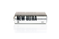 AA Battery. Silver AA battery cells on white background Royalty Free Stock Images