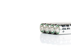 AA Battery. Silver AA battery cells on white background Stock Images