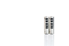 AA Battery. Silver AA battery cells on white background Stock Photos