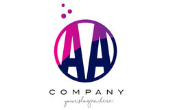 AA A Circle Letter Logo Design with Purple Dots Bubbles. AA A Circle Letter Logo Design with Purple Magenta Dots Bubbles Vector Illustration royalty free illustration