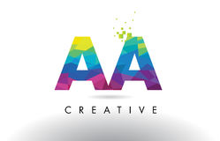 AA A Colorful Letter Origami Triangles Design Vector. AA A Colorful Letter Design with Creative Origami Triangles Rainbow Vector Stock Photo