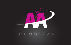 AA A Creative Letters Design With White Pink Colors. AA A Creative Letters Design. White Pink Letter Vector Illustration royalty free illustration