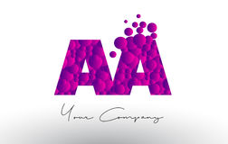 AA A Dots Letter Logo with Purple Bubbles Texture. AA A Dots Letter Logo with Purple Pink Magenta Bubbles Texture Vector Royalty Free Stock Photos