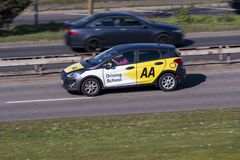 AA driving school car driving on the road stock photos