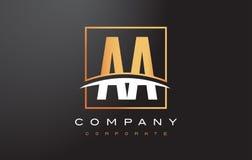Aa een Gouden Brief Logo Design met Gouden Vierkant en Swoosh Royalty-vrije Stock Foto