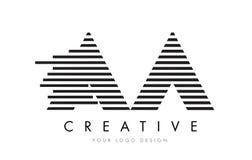 AA ein Zebra-Buchstabe Logo Design mit Schwarzweiss-Streifen Stockfotografie