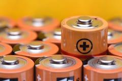 Aa-format för alkaliska batterier Fotografering för Bildbyråer