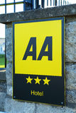 AA Hotel Rating. A sign indicating the rating of a hotel Royalty Free Stock Image