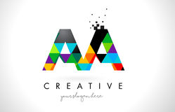 AA A Letter Logo with Colorful Triangles Texture Design Vector. AA A Letter Logo with Colorful Vivid Triangles Texture Design Vector Illustration vector illustration