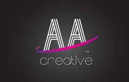 AA A Letter Logo with Lines Design And Purple Swoosh. AA A Letter Logo with Lines Design And Purple Swoosh Vector Letters Illustration Royalty Free Stock Photo