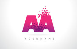 AA A Letter Logo with Pink Purple Color and Particles Dots Desig. AA A Letter Logo with Pink Letters and Purple Color Particles Dots Design vector illustration