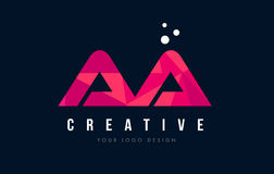 AA A Letter Logo with Purple Low Poly Pink Triangles Concept. AA A Purple Letter Logo Design with Low Poly Pink Triangles Concept royalty free illustration