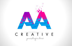 AA A Letter Logo with Shattered Broken Blue Pink Texture Design. AA A Letter Logo with Broken Shattered Blue Pink Triangles Texture Design Vector Illustration Royalty Free Stock Photo