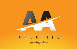 AA A Letter Modern Logo Design with Yellow Background and Swoosh. AA A Letter Modern Logo Design with Swoosh Cutting the Middle Letters and Yellow Background royalty free illustration