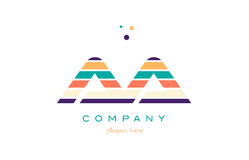Aa a line stripes pastel color alphabet letter logo icon templat. Aa a alphabet letter logo colors colorful line stripe font creative text dots company vector Royalty Free Stock Photography