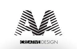AA A Lines Letter Design with Creative Elegant Zebra. Vector Illustration Stock Images