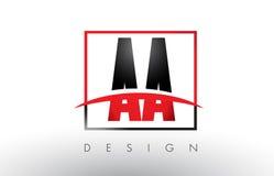 AA Logo Letters con colores rojos y negros y Swoosh Fotografía de archivo