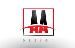 AA A Logo Letters with Red and Black Colors and Swoosh. Stock Photography
