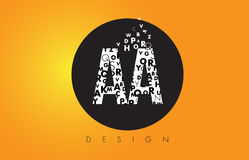 AA A Logo Made of Small Letters with Black Circle and Yellow Bac. AA A Logo Design Made of Small Letters with Black Circle and Yellow Background stock illustration