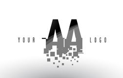 AA A Pixel Letter Logo with Digital Shattered Black Squares. Creative Letters Vector Illustration vector illustration