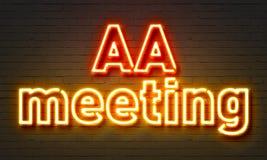 AA-Sitzungsleuchtreklame auf Backsteinmauerhintergrund Lizenzfreies Stockfoto