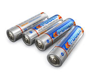AA size batteries. Set of four AA size batteries isolated on white background vector illustration