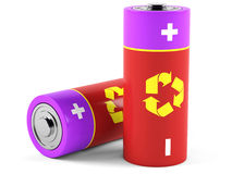 AA size batteries. On white background. 3D rendering Royalty Free Stock Photo