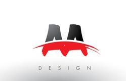 Aa une brosse Logo Letters avec l'avant de brosse de bruissement de rouge et de noir Image stock