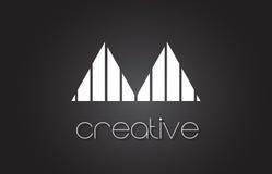 Aa une lettre Logo Design With White et lignes noires Images libres de droits