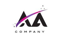 Aa une lettre noire Logo Design avec le bruissement magenta pourpre Photo libre de droits