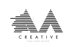 AA A Zebra Letter Logo Design with Black and White Stripes. Vector vector illustration