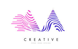 AA A Zebra Lines Letter Logo Design with Magenta Colors. AA A Zebra Letter Logo Design with Black and White Stripes Vector royalty free illustration
