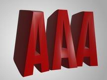 AAA 3d odpłaca się słowo tekst Zdjęcia Stock