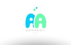 AAAAA alphabet letter blue green logo icon design Stock Photo