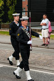 AABENRAA,丹麦- 2014年7月6日- :一次游行的Tambour军团在 库存照片