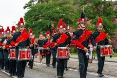 AABENRAA, DÄNEMARK - 6. JULI - 2014: Russisches tambour Korps an einem PA Lizenzfreie Stockbilder