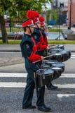 AABENRAA, DANEMARK - 6 JUILLET - 2014 : Corps russes de tambour à une PA Images libres de droits