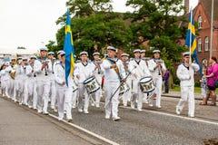 AABENRAA, DANIMARCA - 6 LUGLIO - 2014: Corpo svedese del tambour ad un PA fotografie stock libere da diritti