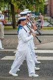 AABENRAA, DANIMARCA - 6 LUGLIO - 2014: Corpo svedese del tambour ad un PA Fotografie Stock