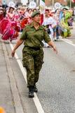 AABENRAA DANMARK - JULI 6 - 2014: Nationell vakt framme av mig Arkivbilder