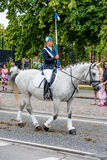 AABENRAA, DENMARK - JULY 6 - 2014: Participating riders in a par. Ade at the annual tilting festival in Aabenraa stock photography