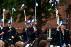 AABENRAA, DENMARK - JULY 6 - 2014: Participating riders in a par. Ade at the annual tilting festival in Aabenraa Royalty Free Stock Photos