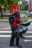 AABENRAA, DENMARK - JULY 6 - 2014: Russian tambour corps at a pa royalty free stock images