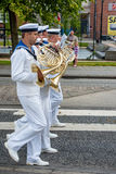 AABENRAA, DENMARK - JULY 6 - 2014: Swedish tambour corps at a pa. Rade at the annual tilting festival in Aabenraa Stock Photography