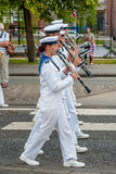 AABENRAA, DENMARK - JULY 6 - 2014: Swedish tambour corps at a pa. Rade at the annual tilting festival in Aabenraa Stock Photos