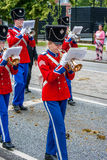 AABENRAA, DENMARK - JULY 6 - 2014: Tambour corps at a parade at royalty free stock photography