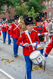 AABENRAA, DENMARK - JULY 6 - 2014: Tambour corps at a parade at. The annual tilting festival in Aabenraa Royalty Free Stock Photography